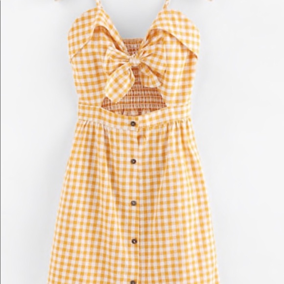 Dresses & Skirts - Cut out bow front fold over plaid cami dress